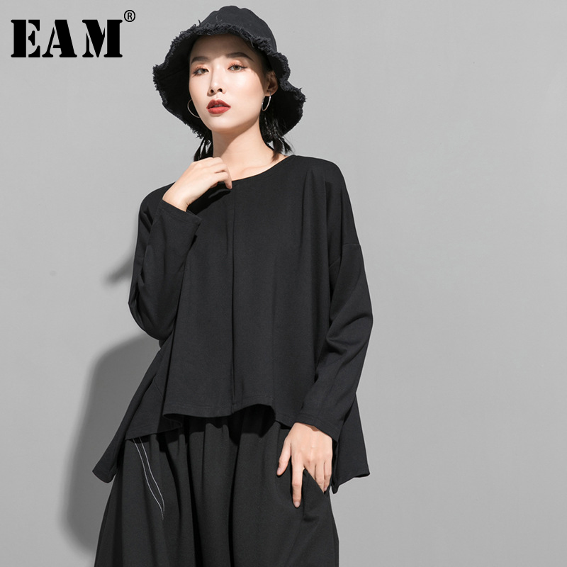 [EAM] Women Back Zipper Split Big Size Asymmetrical T-shirt New Round Neck Long Sleeve  Fashion Tide  Spring Autumn 2020 1R834