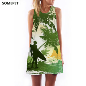 Beach Dress 3D Women Dress Sleeveless Sundresses Tank Printed Casual Round Neck Hot Sale Dress chiffon Summer
