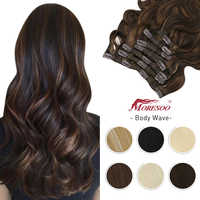 Moresoo-extensiones de cabello humano con Clip para mujer, máquina de cabeza completa ondulada, Remy, Invisible, doble trama, peluca