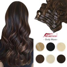 Moresoo Clip in Hair Extensions Human Hair Body Wave Full Head Machine Remy Invisible Double Weft Clip on For Women Hairpiece