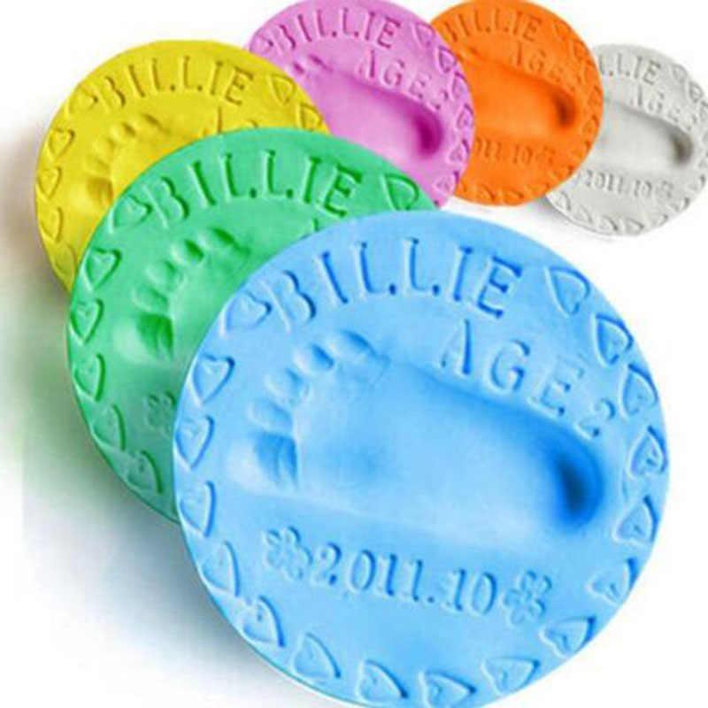 1pc Babys on Progress Souvenirs Handprint Footprint Air Dry Soft Clay Decoracion Items Babies Grown Happy Memory for Pet Cat Dog