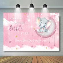 Elephant Backdrop Twinkle Little Star Pink Background Girls Baby Shower Birthday Party Decoration Banner