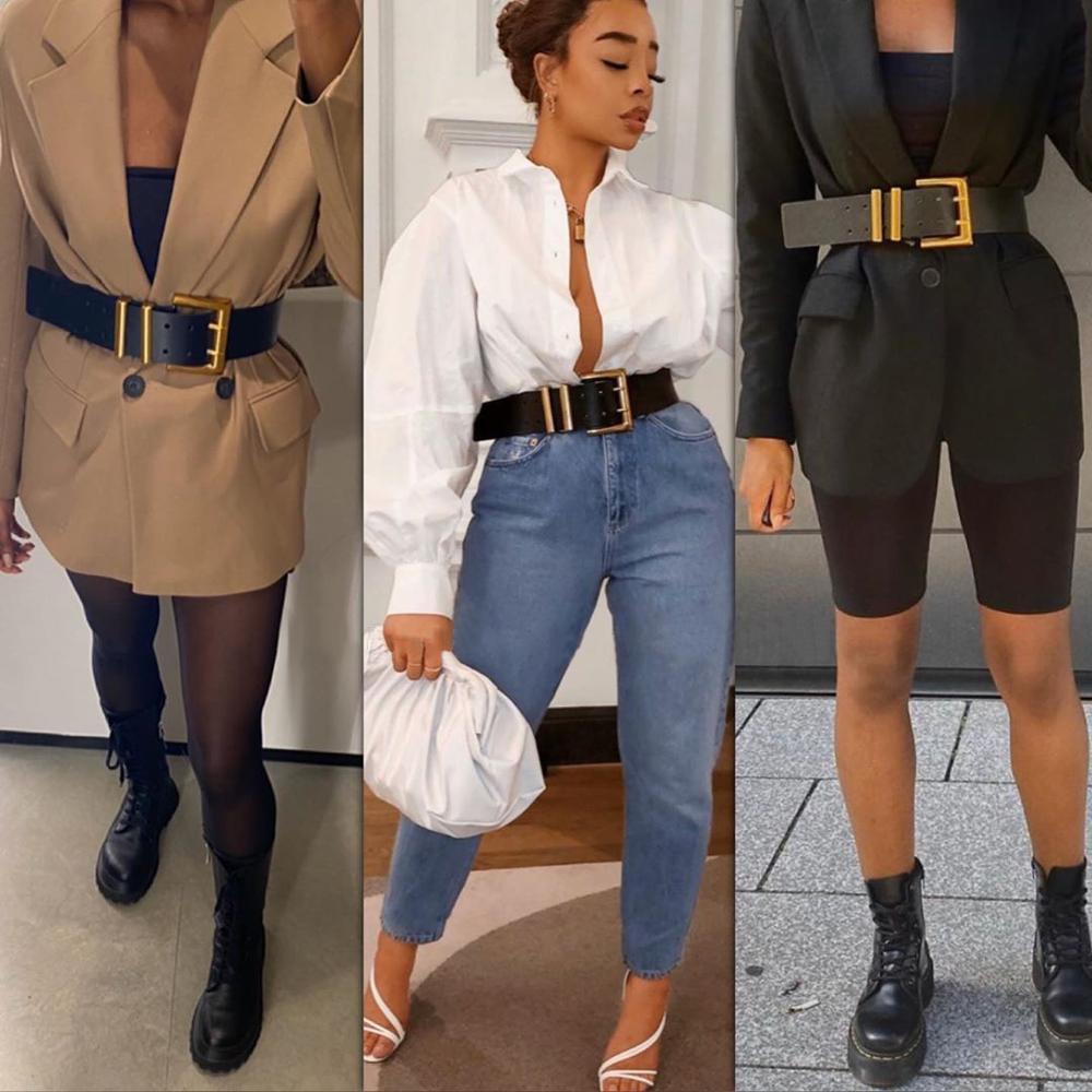 Dvacaman 2020 New ZA Fashion Genuine Leather Double-layer Pin Buckle Belt Women INS Style Belt Waist Accessories For Dress Coat