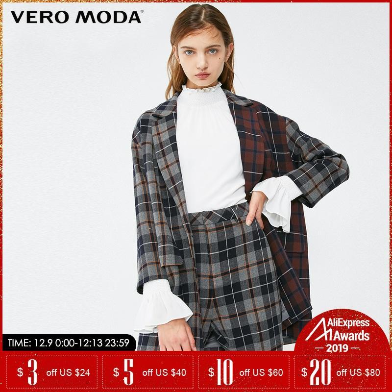 Vero Moda Autumn And Winter Color Matching Lapel Collar Check Blazer  319108516