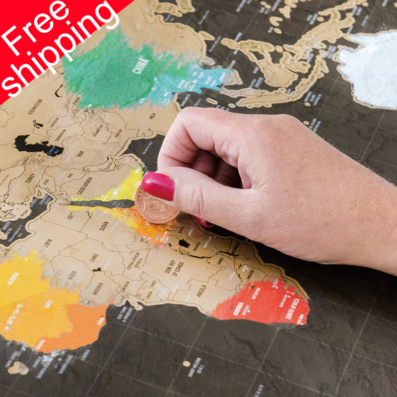 Scratch Map 42x30cm World Travel Map Erasable Creative Home Decoration Wall Stickers Colorful Decorative Map Mini
