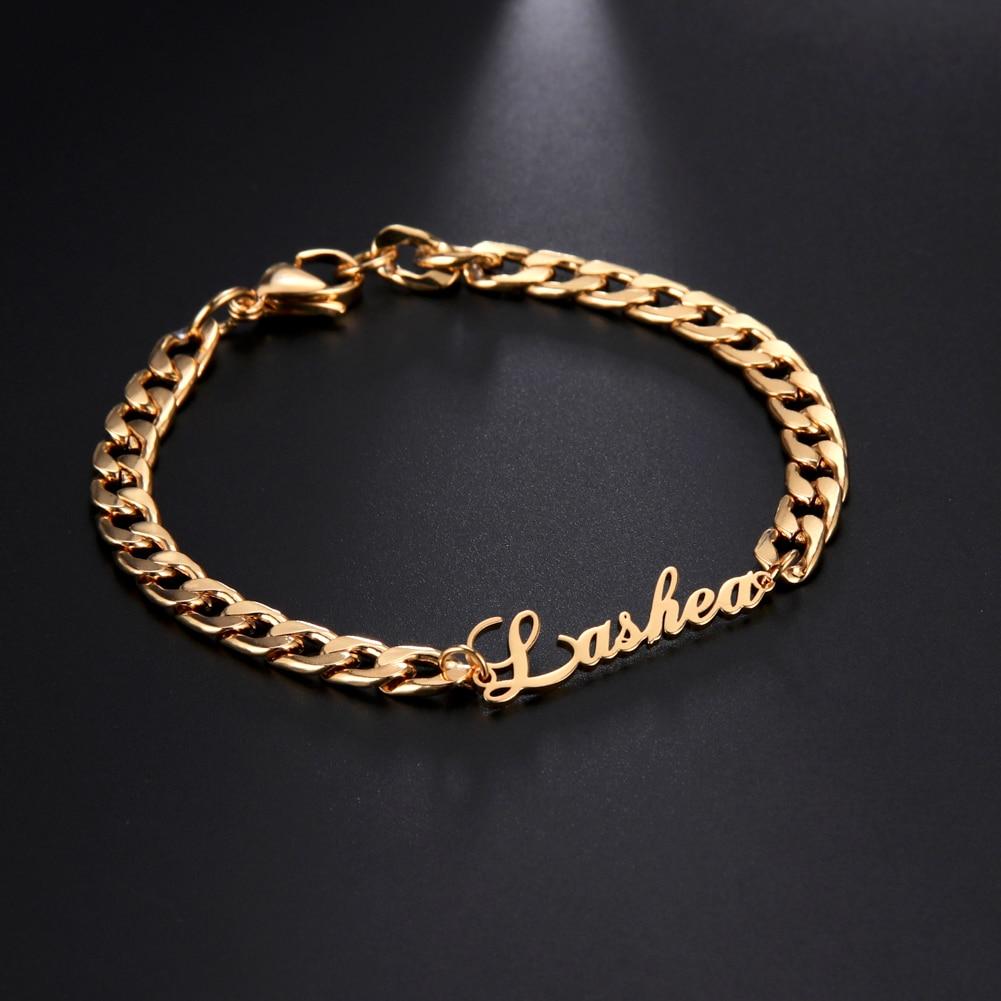 Lemegeton Customized Name Bracelet For Men Women 5mm Cuban Chain Personalized Custom Name Bracelets Stainless Steel Punk Jewelry