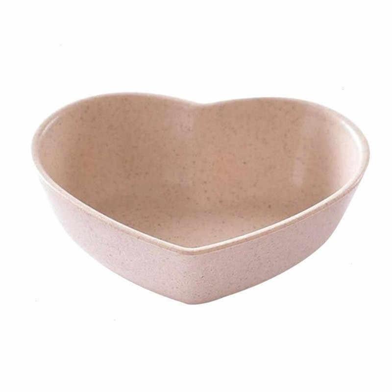 SUEF 1PC miłość miska plastikowa okrągła pszenica słoma serce klub plastikowe przyprawy płyta kochające serce akcesoria kuchenne 4 kolory 1 sztuk nowy @ 3