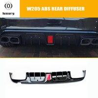Difusor traseiro do amortecedor do estilo b com luz conduzida com pontas da exaustão para o benz w205 c200 c300 c43 com pacote do amg sedan 4 porta 15 19|Amortecedores|   -