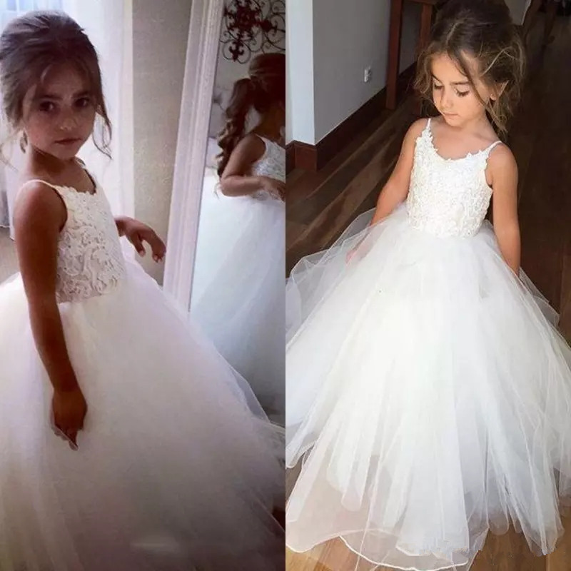 Cute Flower Girl Dresses Lace Tulle Flower Dress Spaghetti Straps Sleeveless Puffy Pageant Gown Holy Communion Dresses For Girls