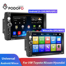 "Podofo 2din Mobil Radio Android GPS Navi Wifi 7 ""Car Multimedia Player Mobil Stereo untuk VW Toyota Golf Nissan hyundai CR-V Auto Radio(China)"