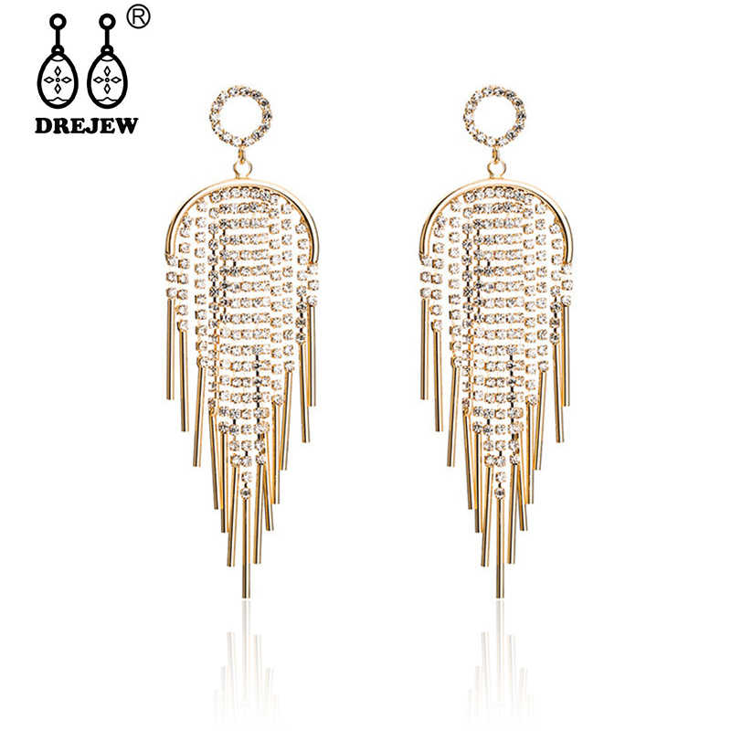 DREJEW Long Tassel Silver Rose Gold Rhinestone Statement Earrings Korean 925 Drop Earrings for Women Wedding Christmas HE318