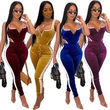 2019 New Autumn Ladies gold velvet jogging sports suit two-piece pants Jumpsuits