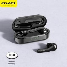 (Отправить из России) AWEI TWS Bluetooth V5.0 настоящие наушники Беспроводные зарядка шумоподавление HiFi 6D бас с микрофоном сенсорное управление игровые гарнитуры