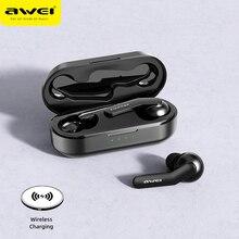 AWEI TWS بلوتوث V5.0 سماعة صحيح اللاسلكية شحن إلغاء الضوضاء HiFi 6D باس مع هيئة التصنيع العسكري اللمس التحكم سماعة الألعاب