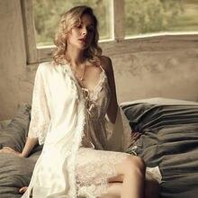 3 шт Женский комплект для отдыха кружевная белая Пижама с халатом