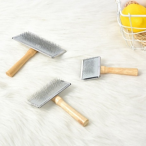 Pet Grooming Comb Rake For Hair Knots Removal Stainless Steel Pins And Wooden Handle Dog Hair Remover Pets Accessories 3 Size