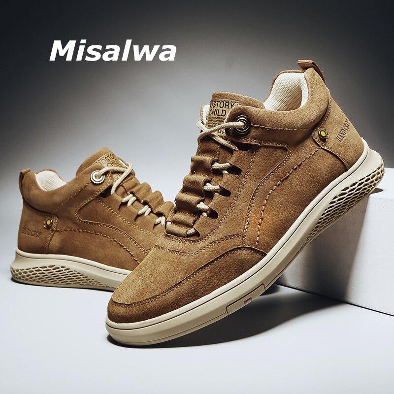 Misalwa haut décontracté cheville sable brun printemps automne quotidien en cuir de porc baskets à lacets jeunes hommes chaussures 2020 Chaussures décontractées homme    - AliExpress