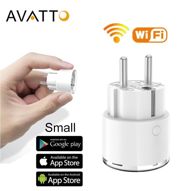 Avatto mini padrão 16a ue inteligente wifi plug com monitor de energia tomada funciona com o google em casa, alexa, ifttt controle de voz