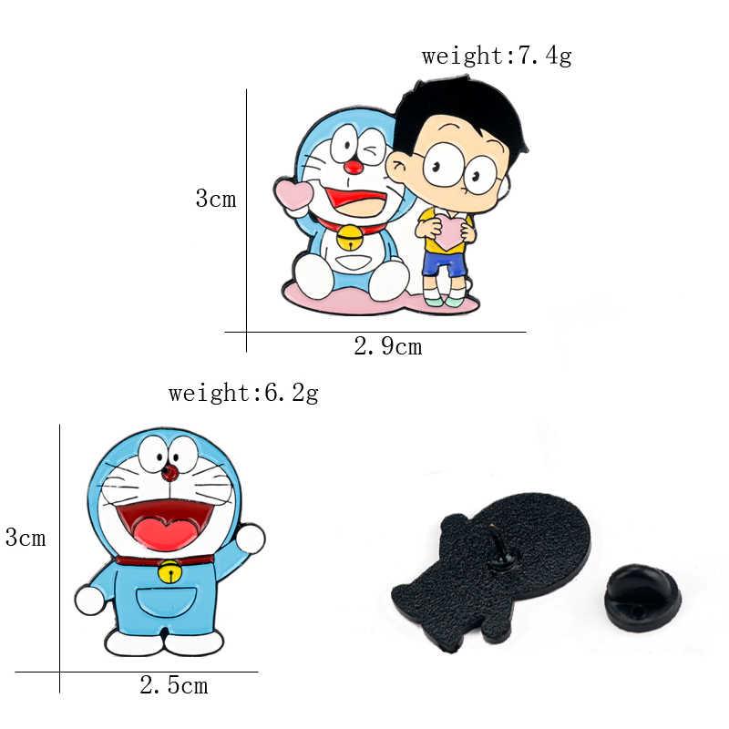 Clásico Anime Doraemon Gato Azul y Nobita broche de Metal esmalte pin hombres mujeres Collar solapa Pin mochila bolsas insignia broches y pines