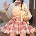 Женская юбка в складку, XS-2XL Harajuku опрятный Стиль с высокой талией юбки в клетку мини Японская школьная форма дамы платье трапециевидной форм...