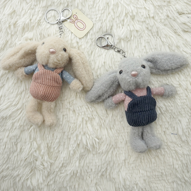16cm Lovely Plush Toy Dress Up Rabbit Pendant Keychain Doll Cute Baby Girl Gift Soft Kawaii Stuffed Plush Bunny Toy Kids Gift