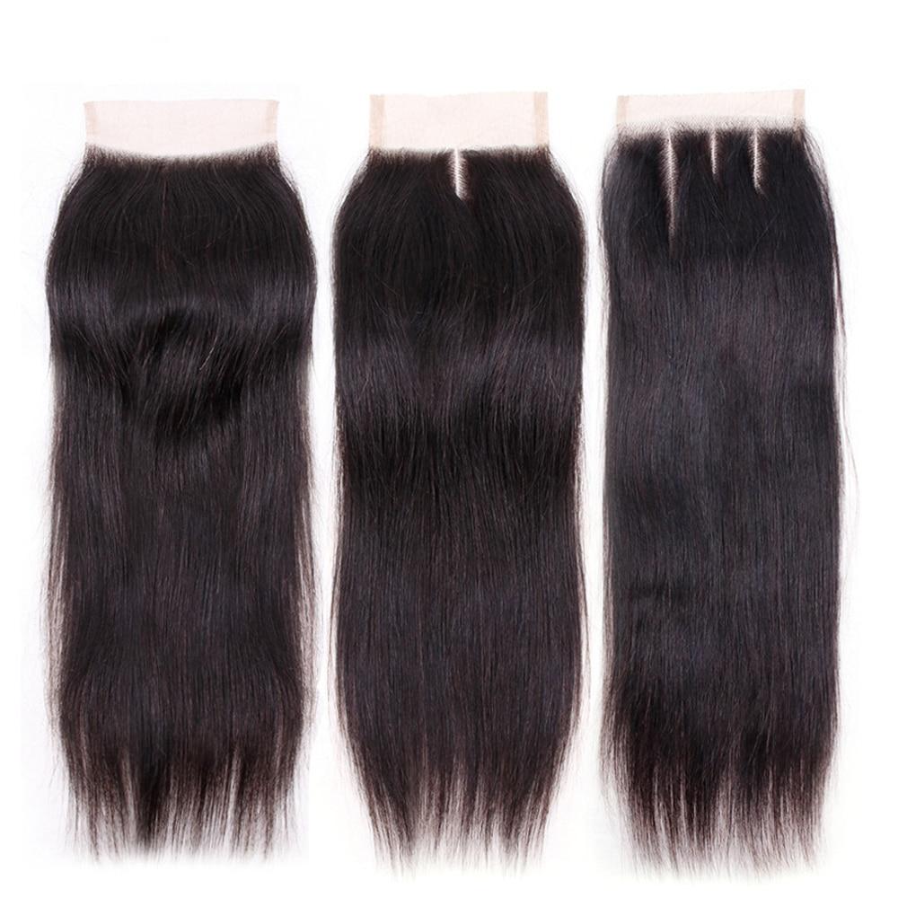 """24 """"5x5 base de seda fechamento reto de seda parte superior do cabelo humano fechamento do laço remy extensões do cabelo humano com o cabelo do bebê parte média livre"""