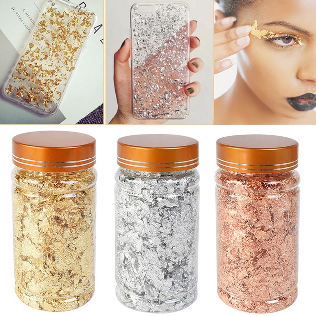 1 bottle Decorative Gold Leaf Flakes 3g Gold Silver Confetti DIY Nail Art Paiting Materials Decorating Foil Paper Party Supplies