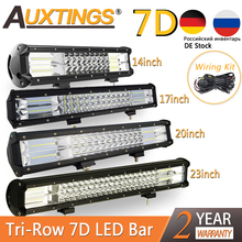 """Auxtings 5 """"14"""" 17 """"20"""" 23 barre de 3 ligne de lampes LED barre de Led tout terrain Combo faisceau Led barre lumineuse de travail pour camion SUV ATV 4x4 4WD 12v 24V"""