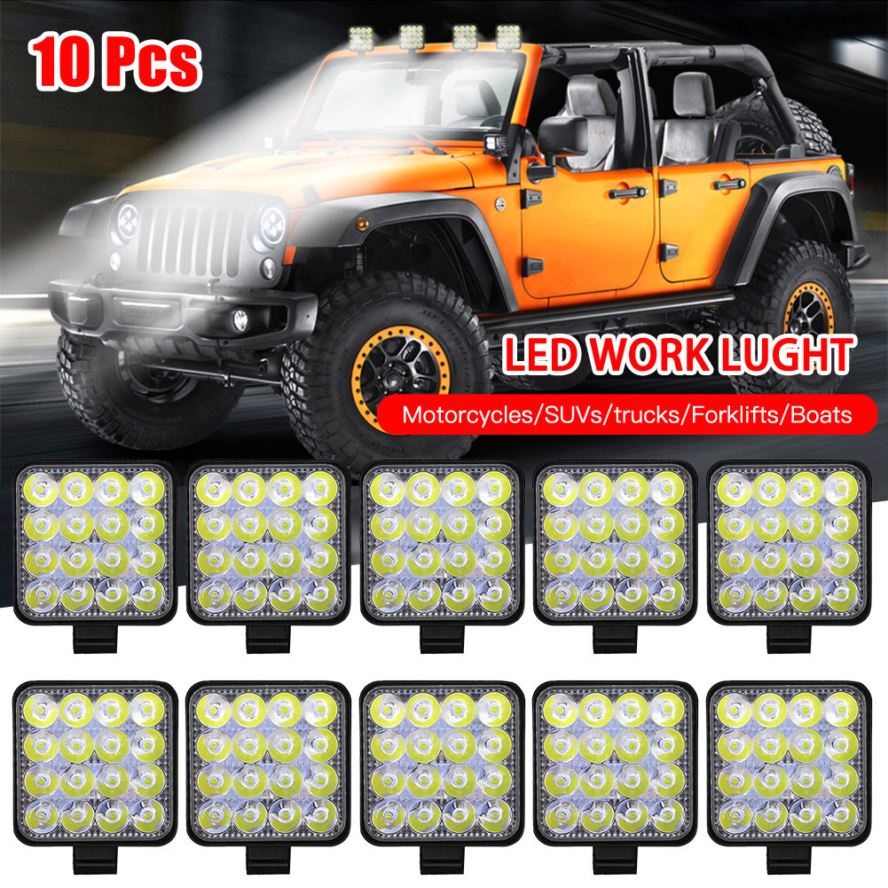 10pcs Square 27W 9-LED Work Light 12V 24V Off-Road Flood Spot Lamp Car ATV UTV SUV Off-road Driving Anti-fog Light