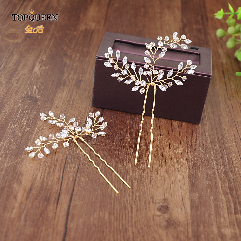 TOPQUEEN Delicate Bride Hairpin Bridal Hairpiece Handmade Rhinestone U Shape Hair Clips Gold Bridal Clips Hair Accessories HP60