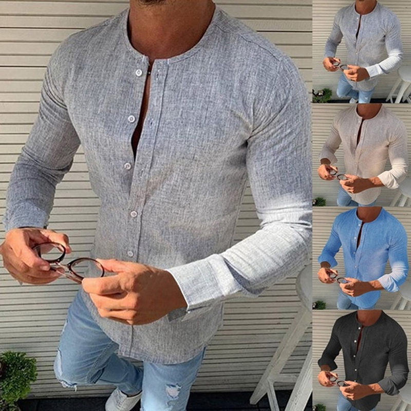 Autumn Spring Long Sleeve Casual Shirts For Men Solid Slim Basic Stand Business Shirts Camisas Masculina