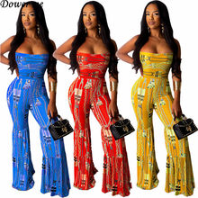 Dower Me Strapless Sexy Boat Neck Sleeveless Jumpsuits for Women 2019 Print Loose High Stretchy Bell-bottoms Jumpsuit NZ271(China)