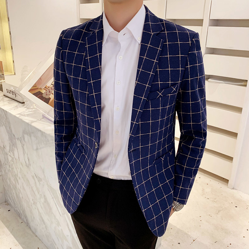 Man's Suit High Quality Men Blazer Fashion Plus Size Casual Mens Plaid Blazer Jacket 2019 Long Sleeve Business Suit Coats Men