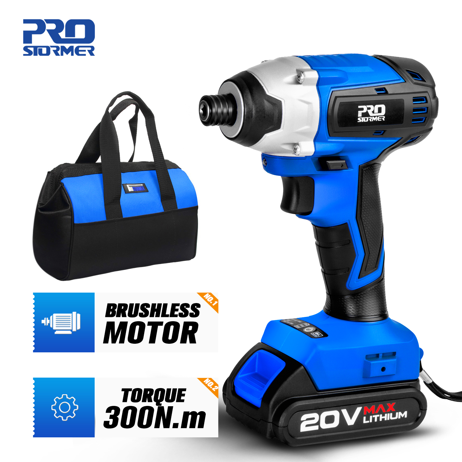 300Nm Electric Screwdriver Cordless Drill Brushless Motor Impact Driver Combo Kit 34pcs Drill Bits 20V Power Tool by PROSTORMER(China)