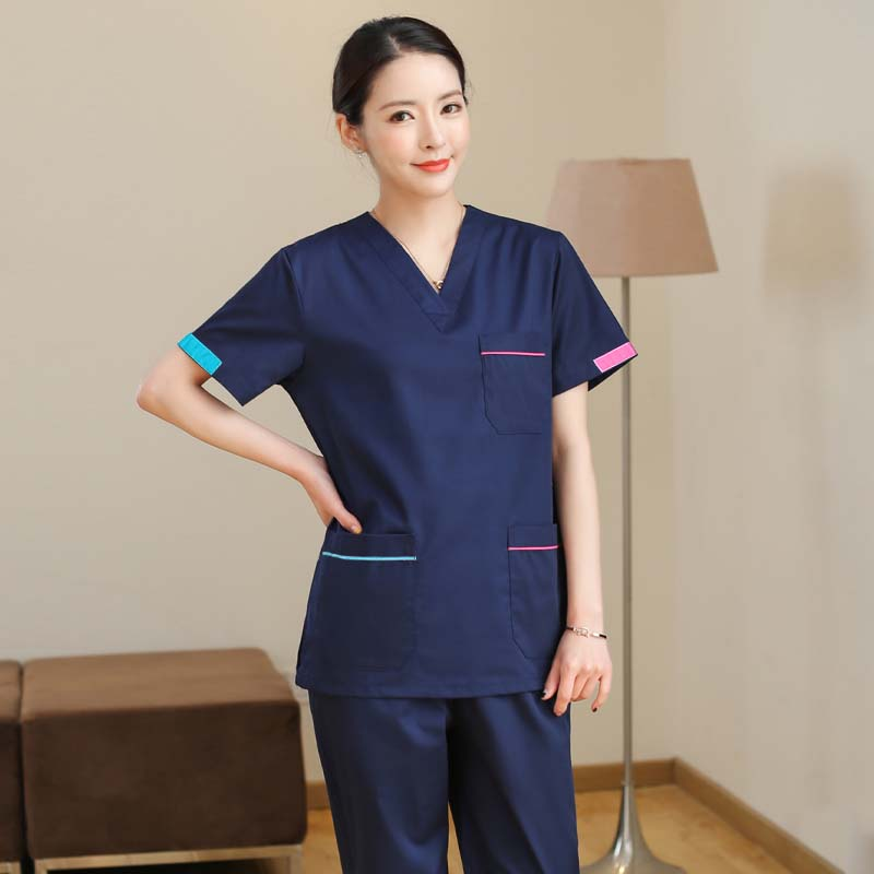 Women's Fashion Scrub Set Medical Uniforms Color Blocking V Neck Scrub Top With Side Vent + Pants Pure Cotton Surgery Workwear