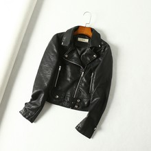 Faux Pu Soft Leather Basic Jackets Women Autumn Motorcycle Rivet Zipper Short Faux Leather Jacket Turndown Collar Coats(China)