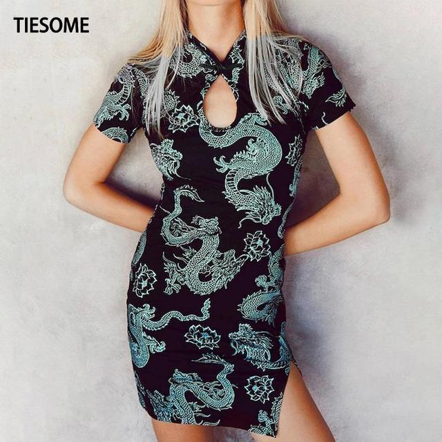 TIESOME 2020 Chinese Traditional Dress for Women Dragon Gothic Hem Split Sexy Mini Dresses Hollow Out Cheongsam Vintage Party 5