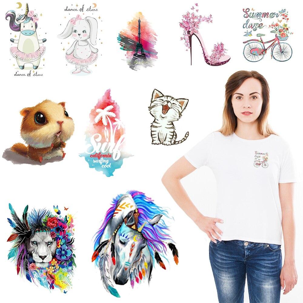 Ferro em transferência para roupas animais adesivos em roupas diy emblemas menina remendos t-shirts apliques por atacado coisas estranhas
