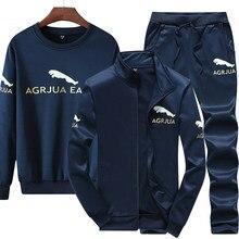 Ensemble 3 pièces de marque pour hommes, vêtements de Sport d'hiver, de course, sweat-shirt, veste chaude, pantalon, 2020