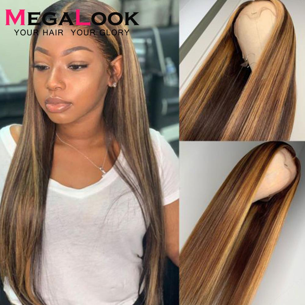 Highlight Lace Front Human Hair Wigs Colored Human Hair Lace Front Wig 13x6 13x4 Remy 180 Straight Lace Front Wig Highlight Wig