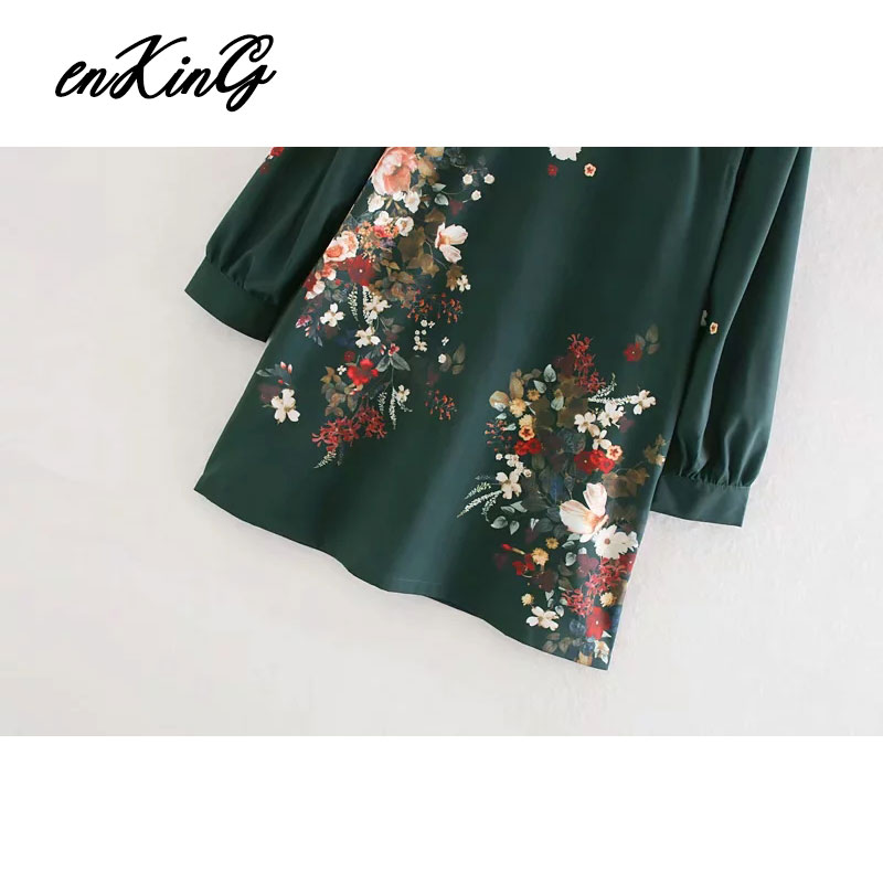 2019 women elegant floral print mini za dress straight style long sleeve pockets female retro stylish dresses vestidos