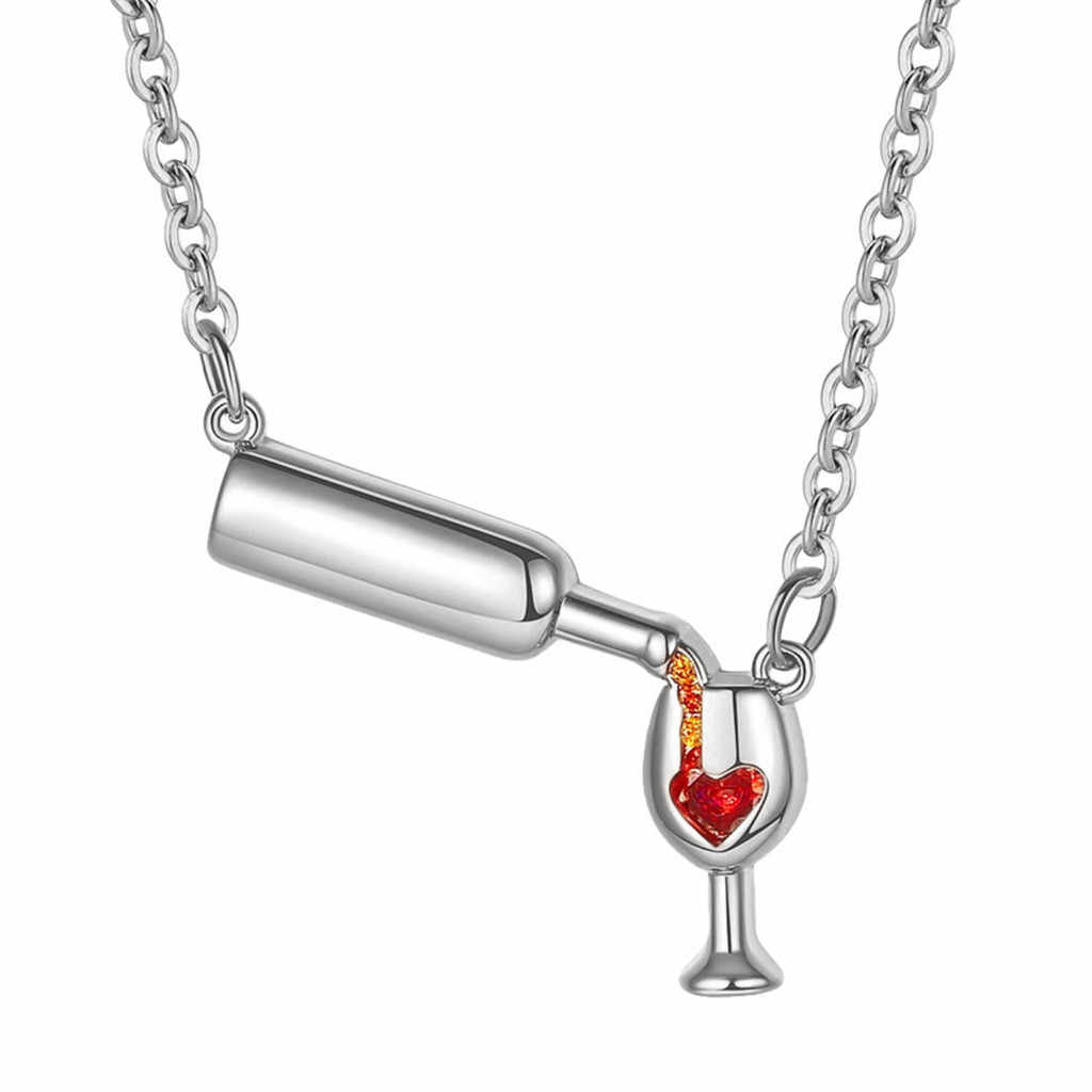 2019 Wine Necklace Love Wine Cheers Red Enamel Heart Pendant Necklace Jewelry Gift 9.9