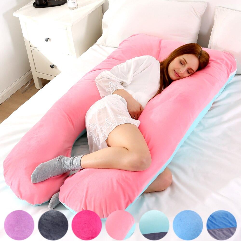 116x65cm Pregnant Pillow Case Gravida U Type Lumbar Pillowcase Multi Function Side Protect Cushion Cover For Pregnancy Women