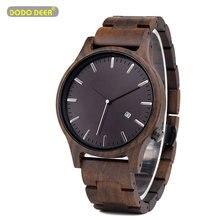 DODO DEER Wood Watch Men Fashion Date Display Wooden Timepie