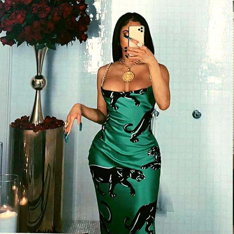 ZOOEFFBB Aesthetic Graphics Printed Sling Maxi Dress Sexy Elegant Club Outfits for...