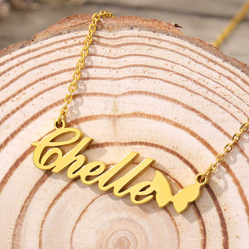 ของขวัญเครื่องประดับส่วนบุคคลSilver Rose Goldสแตนเลสสตีลผีเสื้อป้ายChokerสร้อยคอที่กำหนดเองCrownชื่อสร้อยคอ