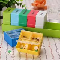 Portable 7 Days 28 Grids Colorful Rectangular Plastic Pill Box Household Pill Cases