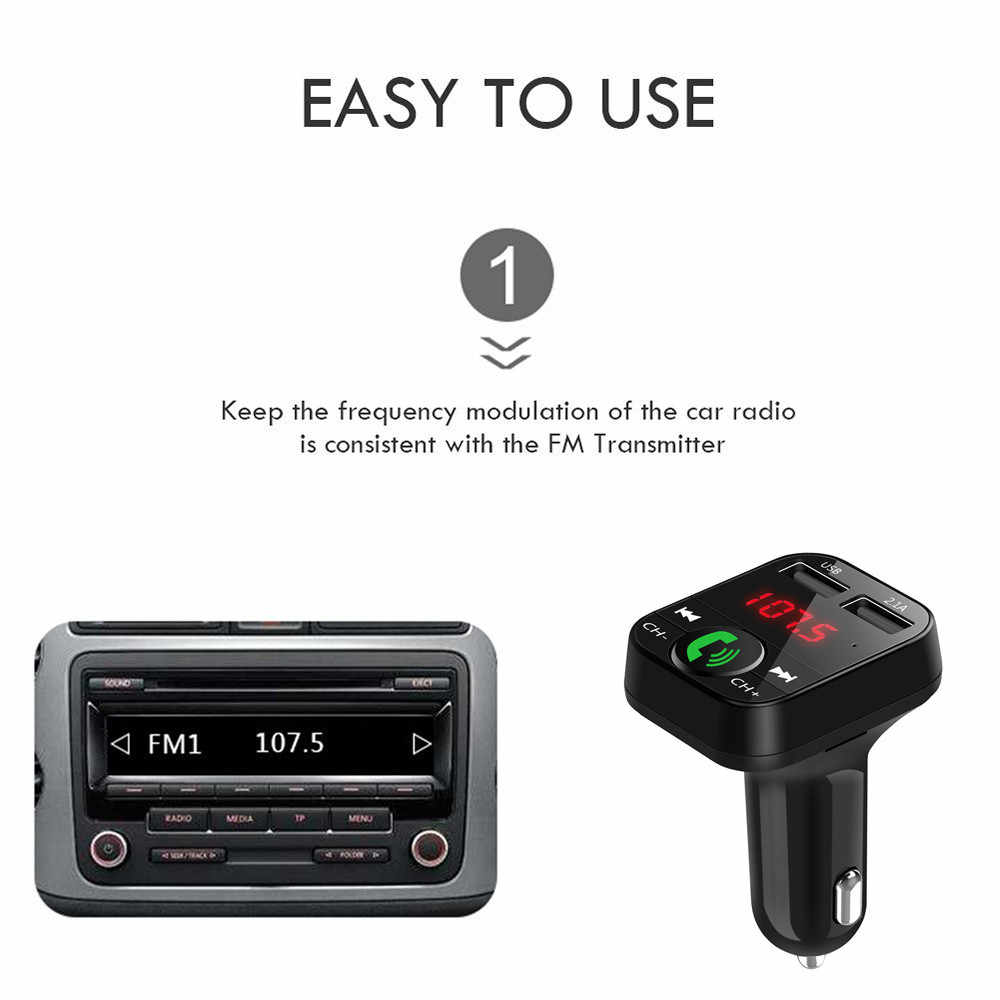 2019 3.1A Bluetooth FM Transmitter Handsfree Mobil Kit Dual USB Charger Penerima Audio Nirkabel TF Kartu Musik Player untuk radio