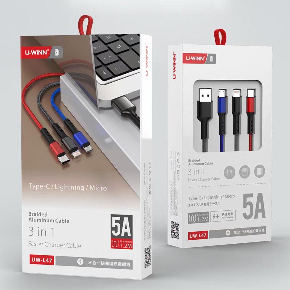 3 в 1 быстрое зарядное устройство кабель для Iphone Usb кабель для Android Xiaomi Huawei Samsung кабель Type C кабель для передачи данных Type-C кабель для передачи и...