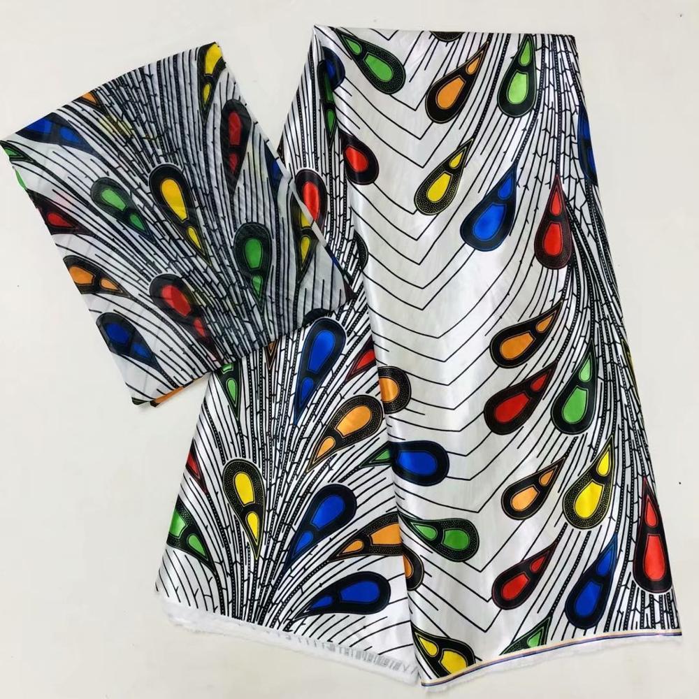Schwarz und weiß ankara stoff afrikanische drucke silk satin stoff hochzeit kleid stoff macthing 2yards chiffon ankara dashiki